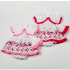 Pink or red 3 piece baby girl summer dresses with pants & sunhat